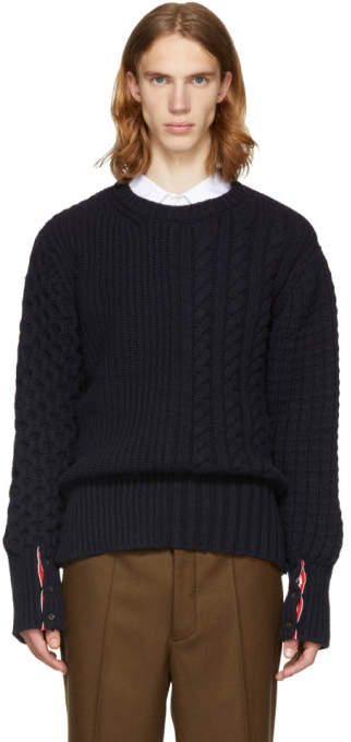 Thom Browne Navy Fun Mix Chunky Cable Knit Crewneck Sweater