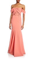 Marchesa Off-the-Shoulder Crepe Gown w/ Draped-Bodice & Beaded Embroidery