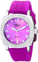 TKO ORLOGI Women's TK612-PR Milano Ice Metal Case Crystal Bezel Rubber Watch