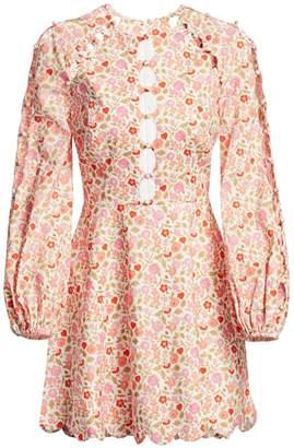 Zimmermann Goldie Scalloped Floral Puff-Sleeve Mini Dress