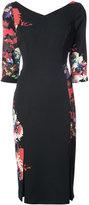 Black Halo floral print panelled dress