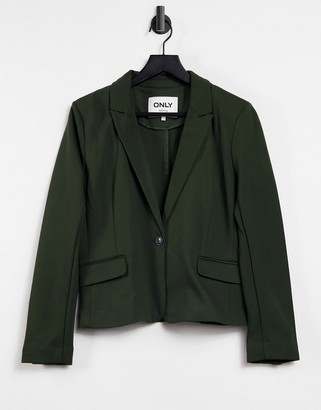 Only shorter length tailored blazer in dark green