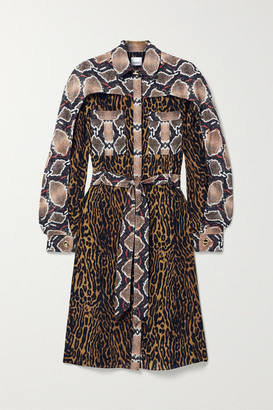 Burberry Belted Animal-print Silk-crepe Dress