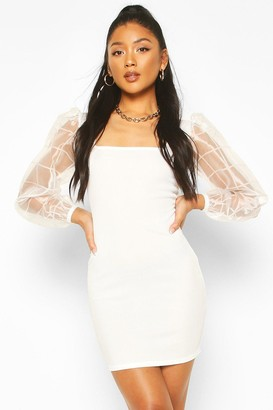 boohoo Square Neck Dress With Organza Check Sleeves