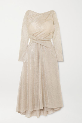 Talbot Runhof Ross Ruched Metallic Voile Midi Dress