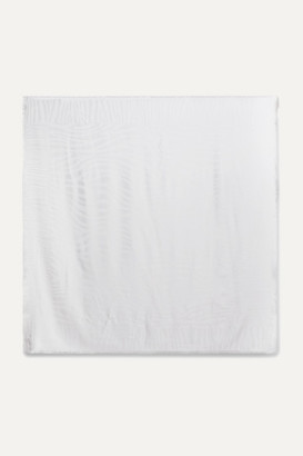 Loro Piana Fringed Silk-jacquard Scarf - Light gray