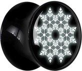Body Candy Black Acrylic Snowflake Saddle Plug Pair 18mm