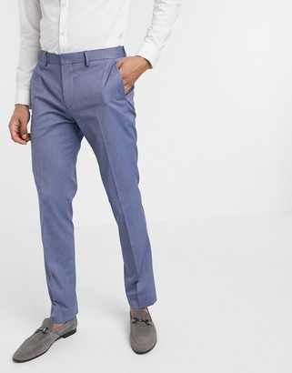 Selected skinny fit stretch suit pants in blue