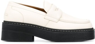 Marni Square-Toe Platform Leather Loafers