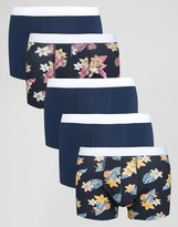 Asos Trunks With Floral Print 5 Pack