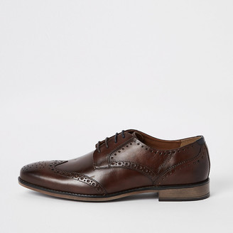 River Island Dark brown wide fit leather lace-up brogues