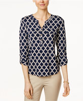 Charter Club Petite Printed Henley Top, Only at Macy's