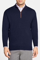Peter Millar Leather Trim Quarter Zip Pullover Wool Sweater