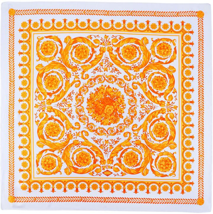 Versace Scrollwork Silk Scarf, Purple/Orange