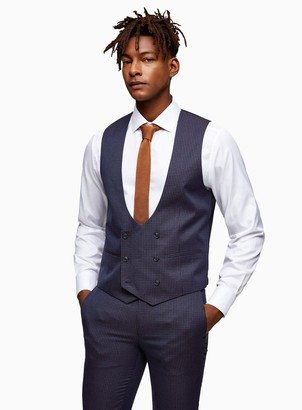 Topman Navy Check Double Breasted Skinny Fit Suit Waistcoat