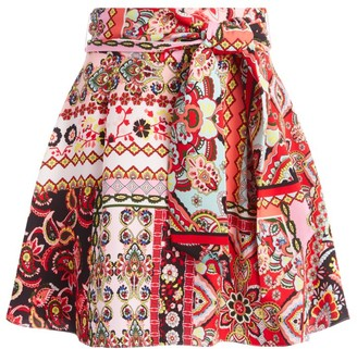Alice + Olivia Helina Patchwork Floral Mini Skirt