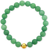 Macy's Gold-Tone Faceted Bead Green Stone Stretch Bracelet