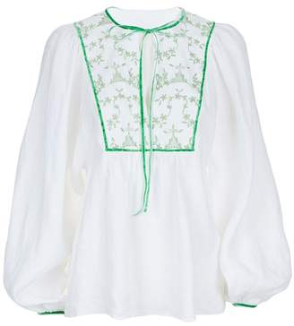 Talika Beulah London Green Hand Embroidery Cotton Blouse