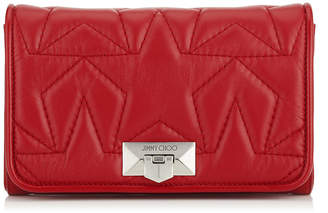 Jimmy Choo HELIA CLUTCH Red Star Matelasse Nappa Leather Clutch with Chain Strap