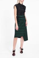 Rochas College Stripe Wrap Skirt