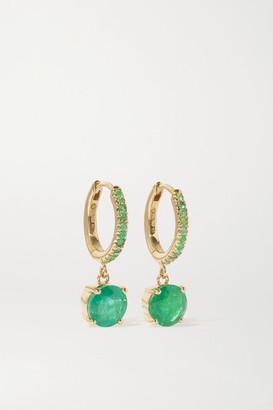 Ileana Makri Grass Seed 18-karat Gold Emerald Hoop Earrings