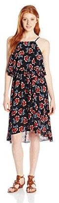 Angie Junior's Floral High Neck Popover Dress
