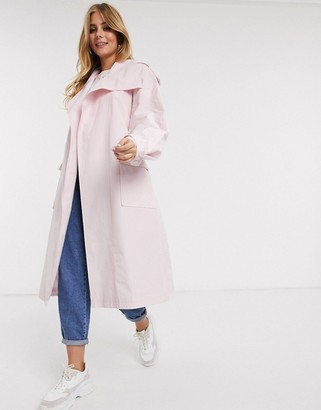 Asos DESIGN waterfall trench coat in pink