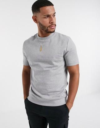 ASOS DESIGN organic super heavyweight short sleeve t-shirt in grey marl
