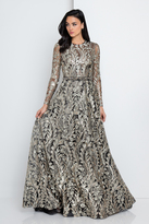 Terani Couture 1723E4286 Gilded Leaf Embroidered Evening Gown