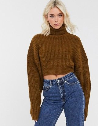 Asos DESIGN super crop roll neck sweater in over size shape