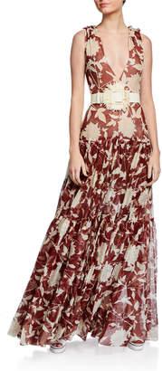 Oscar de la Renta Floral Print Tiered Silk Gown