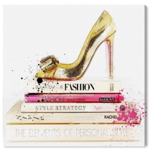 "Oliver Gal Gold Shoe and Fashion Books Canvas Art - 16"" x 16"" x 1.5"""