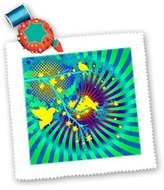 3dRose LLC qs_167170_5 SpiritualAwakenings_Abstract - Spiral Optical Illusion abstract with birds - Quilt Squares