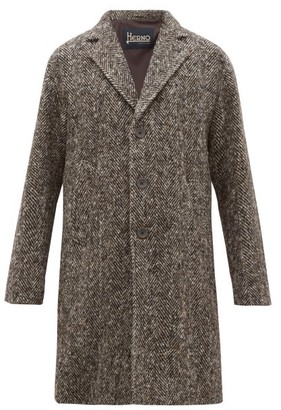 Herno Single Breasted Wool Herringbone Overcoat - Mens - Brown Multi