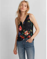 Express floral zip front tank