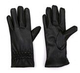 Women's Glove Touch Screen Compatible Faux Leather Black - Sylvia Alexander