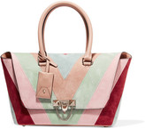 Valentino The Rockstud Medium Paneled Suede And Leather Tote - Blush