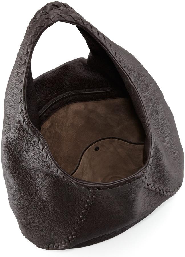Bottega Veneta Cervo Leather Hobo Bag, Espresso