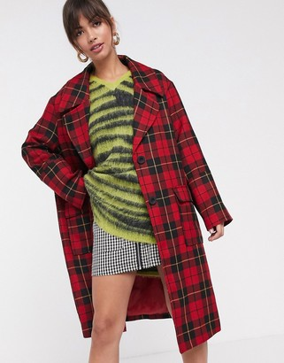 Asos Design DESIGN grunge check coat-Multi