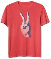 Gap Hand peace sign graphic crewneck tee