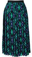 Classic Women's Woven Pleated Midi Skirt-Bright Spruce Plaid