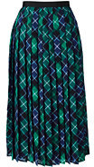 Lands' End Women's Plus Size Woven Pleated Midi Skirt-Bright Spruce Plaid