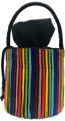 Sensi Studio Beaded Fringe Rainbow Mini Bucket Bag