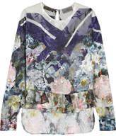 Preen by Thornton Bregazzi Neo Floral-print Devoré Silk-blend Chiffon Top - Blue