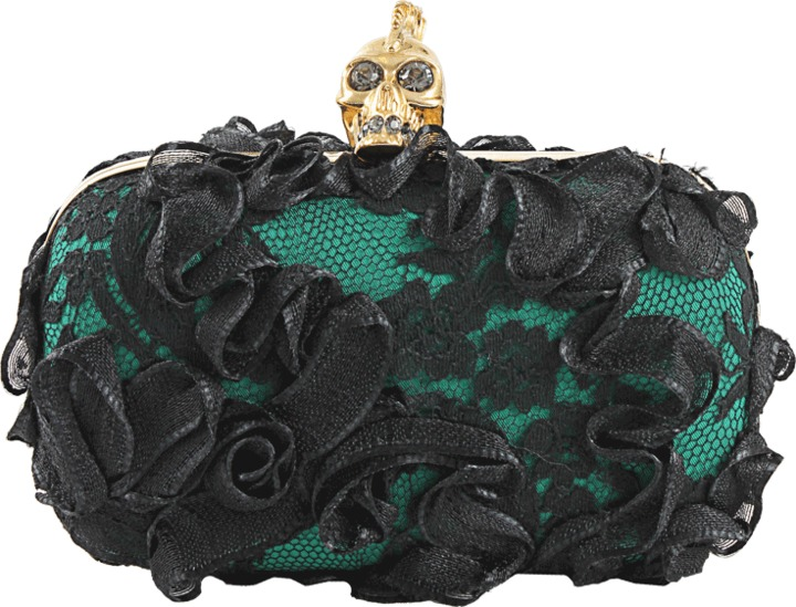 Alexander McQueen Lace and Ribbon Skull Clutch
