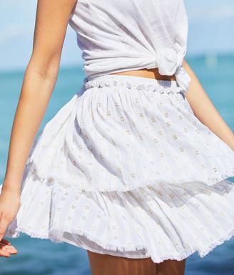 Vineyard Vines Lurex Dobby Fringe Flounce Skirt