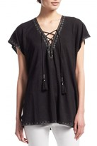 Calypso St. Barth Jetla Embroidered Lace-up Linen Tee