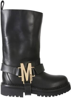 Moschino M Logo Plaque Boots