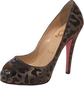 Christian Louboutin Metallic Leopard Print Lame Fabric Very Prive Peep Toe Pumps Size 36
