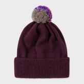 Paul Smith Men's Plum Lambswool Knitted Bobble Hat